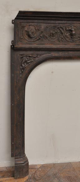 Fireplace cast iron insert, style Napoleon III, with grotesques and chimeras decoration-9