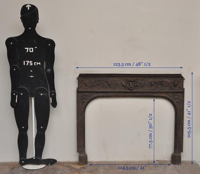 Fireplace cast iron insert, style Napoleon III, with grotesques and chimeras decoration-12