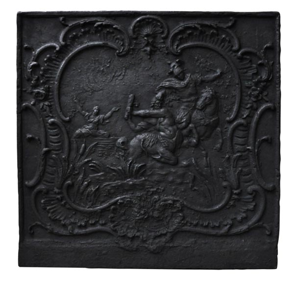 """Fight of a centaur and a Lapith"", antique fireback of the 18th century - Reference 9943"