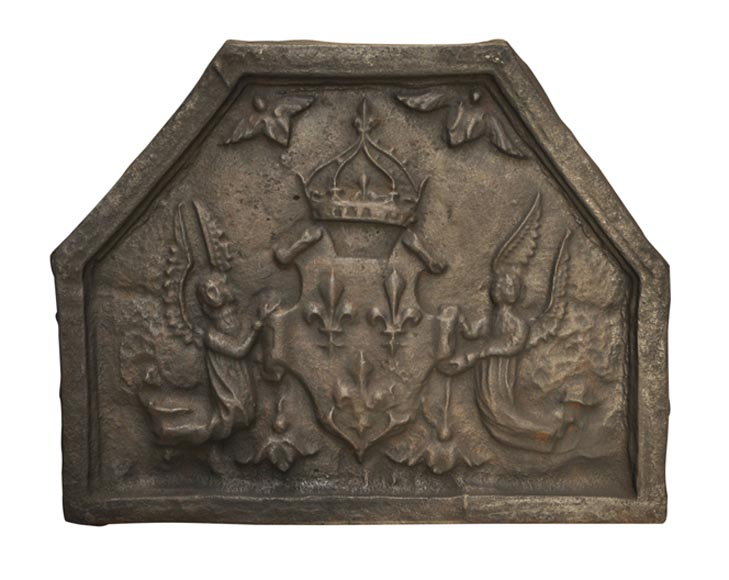 Antique cast iron fireback from the 17th century with French coat of Arms-0