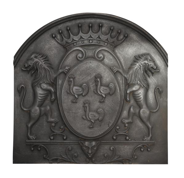 Cast iron fireback with roosters and lions decoration - Reference 9960