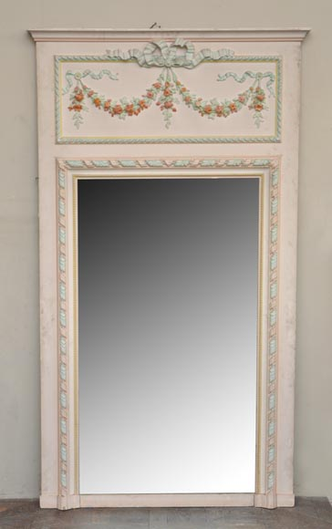 Antique Louis XVI pierglass with pomychrome stucco decoration representing garlands of flowers-0
