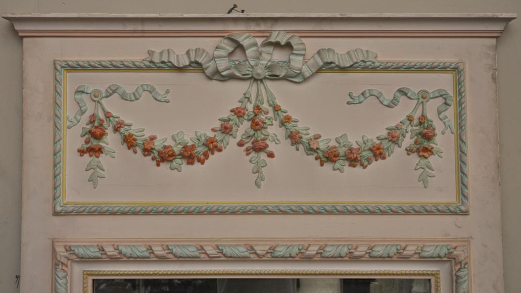 Antique Louis XVI pierglass with pomychrome stucco decoration representing garlands of flowers-1