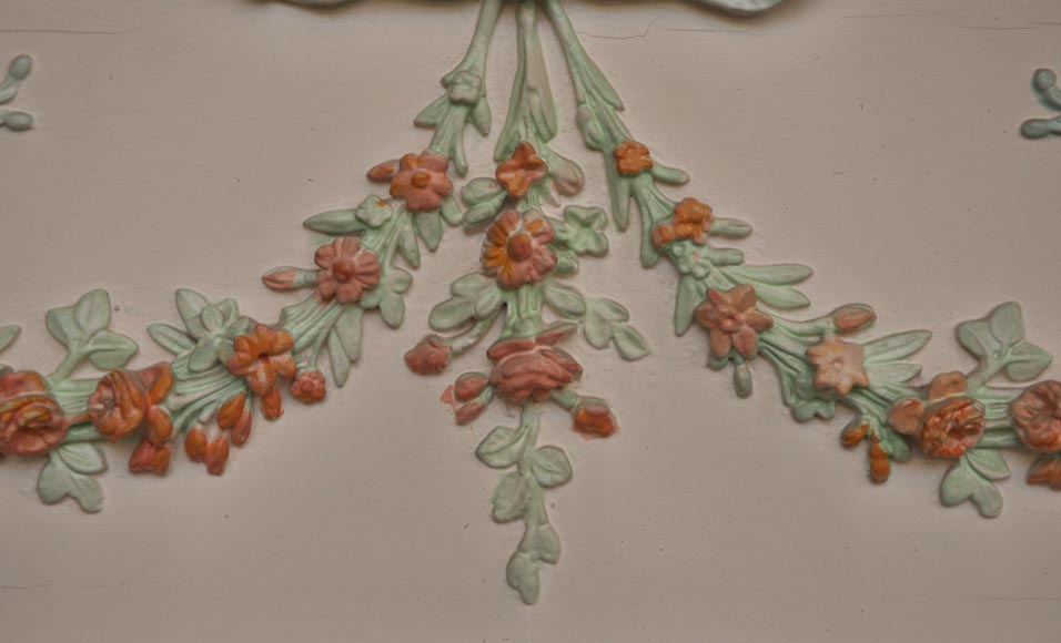 Antique Louis XVI pierglass with pomychrome stucco decoration representing garlands of flowers-2