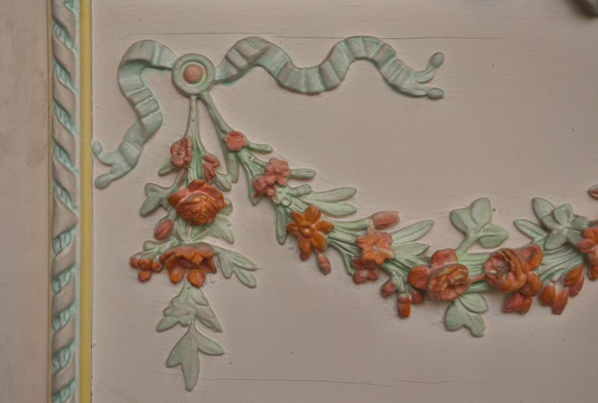 Antique Louis XVI pierglass with pomychrome stucco decoration representing garlands of flowers-3