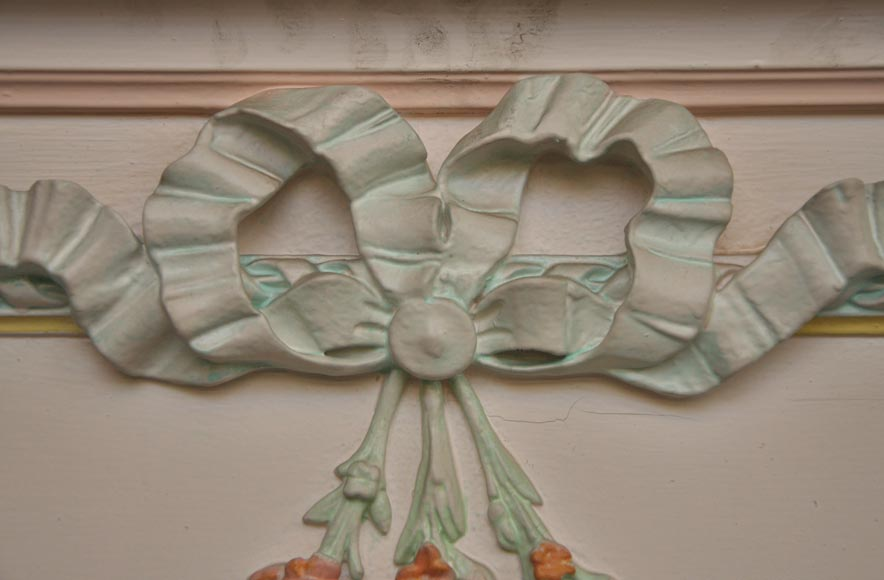 Antique Louis XVI pierglass with pomychrome stucco decoration representing garlands of flowers-5
