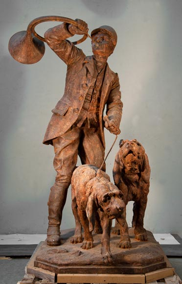 """The Valet Dogs"", cast iron statue by the Val d'Osne after a model by Jules Visseaux, 1906 - Reference 9964"