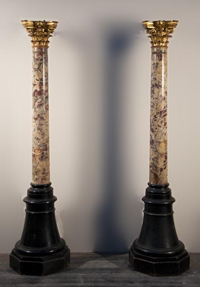 Antique pair of columns made out of Breche Violette and carved and gilded wood - Reference 9969