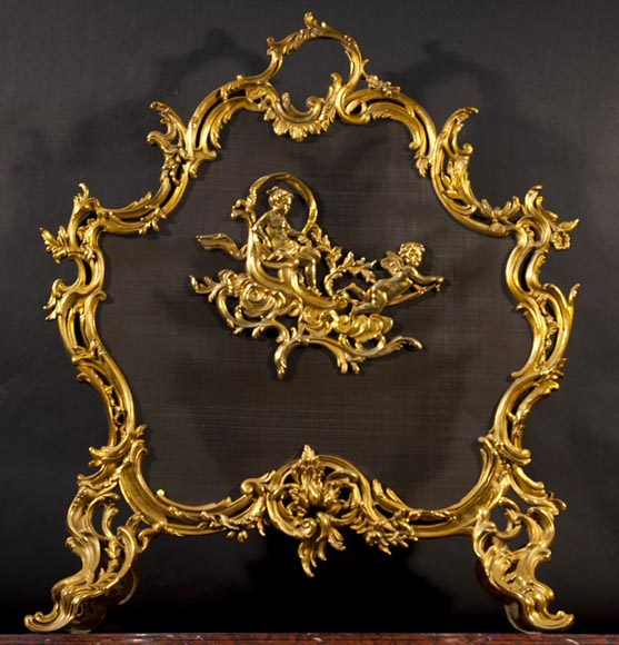 Antique Louis XV gilt bronze fire screen by the bronze manufacturer Charles Casier - Reference 9980