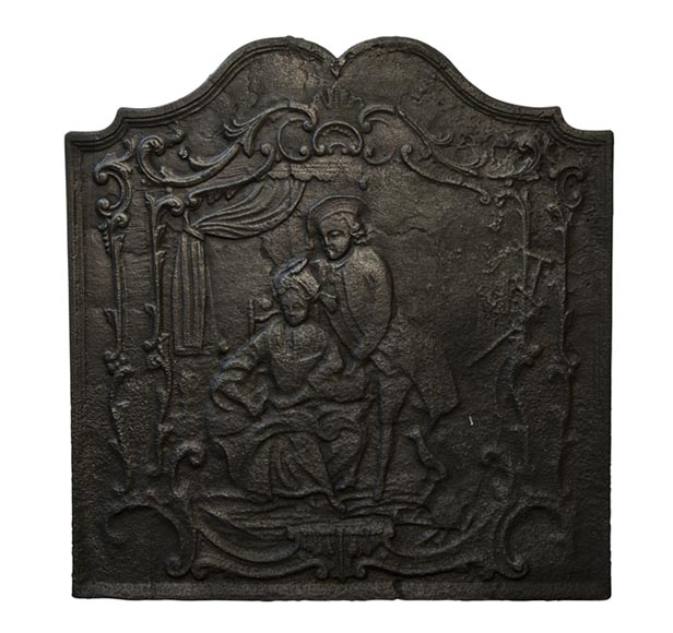 Antique cast iron fireback with a scene of gallantry decor - Reference 9988